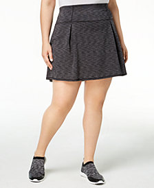 Ideology Plus Size Space-Dyed Pleated Skort, Created for Macy's