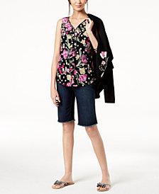 I.N.C. Ruffled V-Neck Top & Frayed Shorts, Created for Macy's