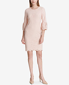 Calvin Klein Laser-Cut Bell-Sleeve Sheath Dress