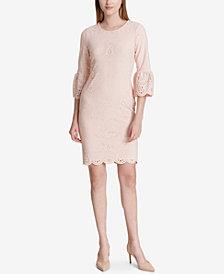 Calvin Klein Laser-Cut Bell-Sleeve Sheath Dress