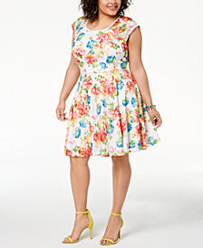 City Studios Trendy Plus Size Printed Fit & Flare Dress