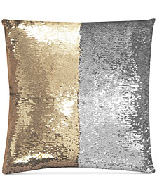 "Hallmart Collectibles Mermaid Colorblocked Pale Gold & Silver Sequin 18"" Square Decorative Pillow"