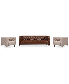 "Tosi 3-Pc. 84"" Leather Sofa & 2 34"" Fabric Chairs Set"