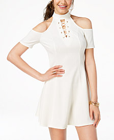 Material Girl Juniors' Cold-Shoulder Skater Dress, Created for Macy's