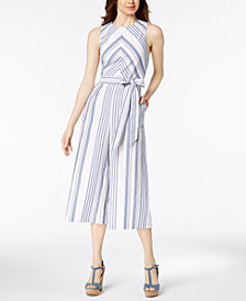 Jessica Howard Striped Cotton Jumpsuit