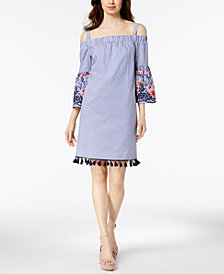 Jessica Howard Cold-Shoulder Tassel-Hem Shift Dress, Regular & Petite