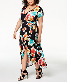 Planet Gold Trendy Plus Size Printed Faux-Wrap Maxi Dress