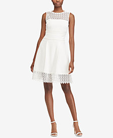 Lauren Ralph Lauren Petite Lace-Trim Fit & Flare Dress