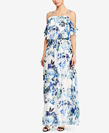 Lauren Ralph Lauren Ruffled Cold-Shoulder Maxidress
