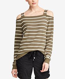 Lauren Ralph Lauren Striped Cold-Shoulder Top