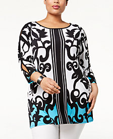 JM Collection Plus Size Cutout-Sleeve Tunic, Created for Macy's