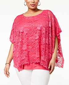 JM Collection Plus Size Lace Overlay Top, Created for Macy's