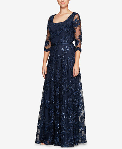 Alex Evenings Petite Belted Sequined-Flower Gown