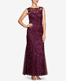 Alex Evenings Sequined Embroidered Illusion Gown