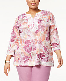 Alfred Dunner Los Cabos Plus Size Embroidered Split-Neck Tunic