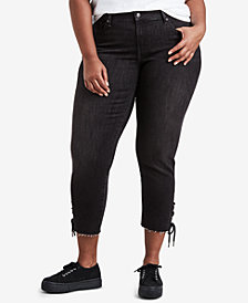 Levi's® Plus Size 711 Cotton Raw-Hem Skinny Ankle Jeans