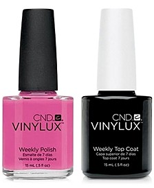 Creative Nail Design Vinylux Hot Pop Pink Nail Polish & Top Coat (Two Items), 0.5-oz., from PUREBEAUTY Salon & Spa