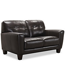 "Kaleb 61"" Tufted Leather Loveseat, Created for Macy's"