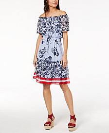 Tommy Hilfiger Off-The-Shoulder Drawstring-Waist Dress, Created for Macy's
