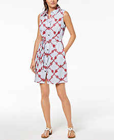 Tommy Hilfiger Cotton Embroidered Shirtdress, Created for Macy's