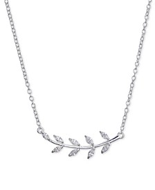 "Cubic Zirconia Leaf Pendant Necklace in Sterling Silver, 16""+2"" Extender"