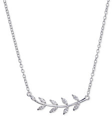 "Unwritten Cubic Zirconia Leaf Pendant Necklace in Sterling Silver, 16""+2"""