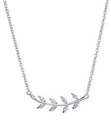 """Unwritten Cubic Zirconia Leaf Pendant Necklace in Sterling Silver, 16""""+2"""" Extender"""