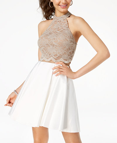 City Triangles Juniors' Contrast Glitter Lace Fit & Flare Dress