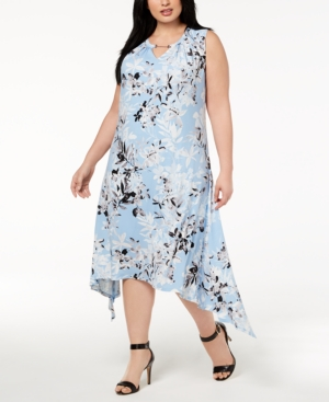 1920s Style Dresses, Flapper Dresses Calvin Klein Plus Size Printed Handkerchief-Hem Fit  Flare Dress $83.70 AT vintagedancer.com