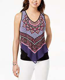 BCX Juniors' Scarf-Print Tank Top
