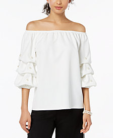 MSK Embellished Off-The-Shoulder Top Petite Sizes