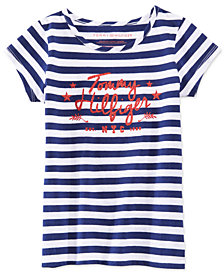 Tommy Hilfiger Big Girls Striped Glitter-Graphic T-Shirt