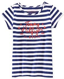 Tommy Hilfiger Big Girls Striped Glitter-Graphic T-Shirt