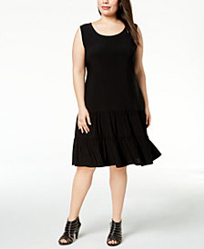 MSK Plus-Size Tiered Drop-Waist Dress