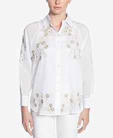 Catherine Catherine Malandrino Cotton Embroidered Eyelet Shirt