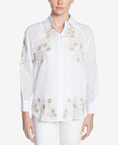 Catherine Catherine Malandrino Cotton Embroidered Eyelet Shirt