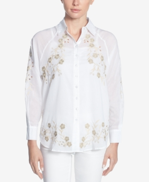 Catherine Malandrino CATHERINE CATHERINE MALANDRINO COTTON EMBROIDERED EYELET SHIRT