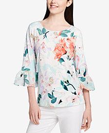 Calvin Klein Floral-Print Bell-Sleeve Top
