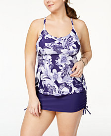 Island Escape Plus Size Underwire Strappy-Back Tankini & Swim Skirt, Created for Macy's
