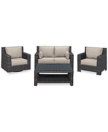 Viewport Outdoor Wicker 4-Pc. Seating Set (1 Loveseat, 1 Club Chair, 1 Swivel Glider & 1 Coffee Table) with Custom Sunbrella® Colors, Created for Macy's