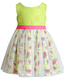 Sweet Heart Rose Glitter-Mesh Watermelon-Print Crochet Dress, Little Girls