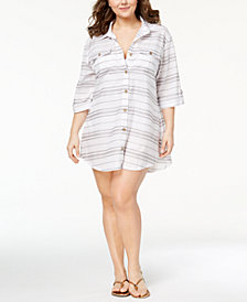 Dotti Plus Size Havana Stripe Cotton Shirtdress Cover-Up