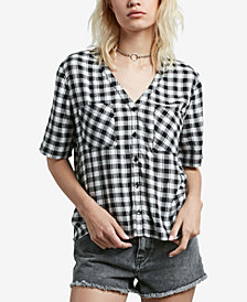 Volcom Juniors' Pick It Up Gingham Button-Up Shirt