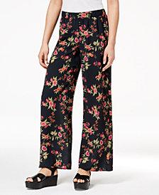 Hippie Rose Juniors' Printed Wide-Leg Soft Pants