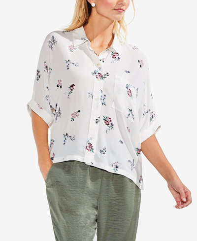Vince Camuto Floral-Print Cuffed-Sleeve Blouse