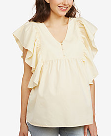 Motherhood Maternity Flutter-Sleeve Top