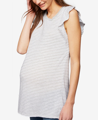 A Pea In The Pod Maternity Ruffled-Sleeve T-Shirt