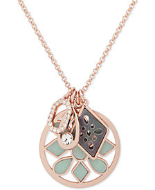 "Ivanka Trump Rose Gold-Tone Stone & Crystal Multi-Charm 38"" Slider Pendant Necklace"