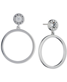 DKNY Crystal & Logo Drop Hoop Earrings, Created for Macy's