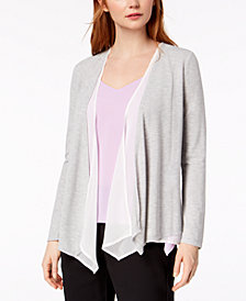 Bar III Draped Contrast Cardigan, Created for Macy's